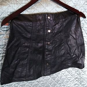 Leather look forever 21 button down miniskirt